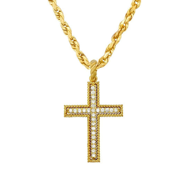 Yellow Diamond Cross Pendant in 14k Yellow Gold 0.75 Ctw