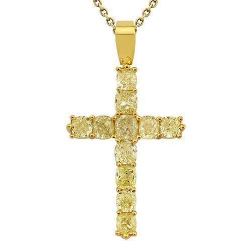 Diamond Cross Pendant in 18k Yellow Gold 7 Ctw