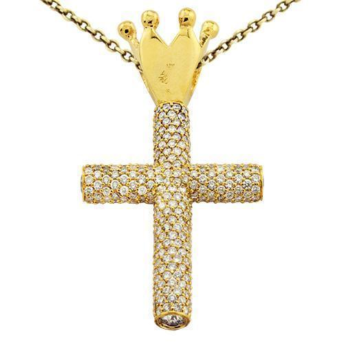 Diamond Cross Pendant with Crown in 14k Yellow Gold 14 Ctw
