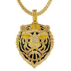 Diamond Custom Lion Pendant in 14k Yellow Gold 4 Ctw