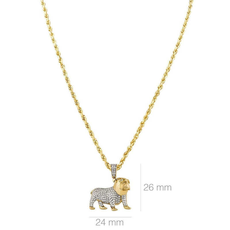 Yellow Diamond Dog Pendant 10k Yellow Gold 0.40 Ctw