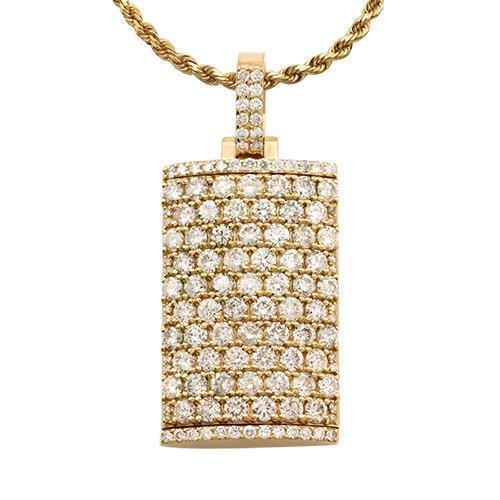 Diamond Dog Tag Pendant 14k Yellow Gold 8.50 Ctw