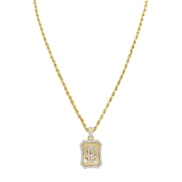 Yellow Diamond Dollar Sign Pendant 10k Yellow Gold 0.25 Ctw