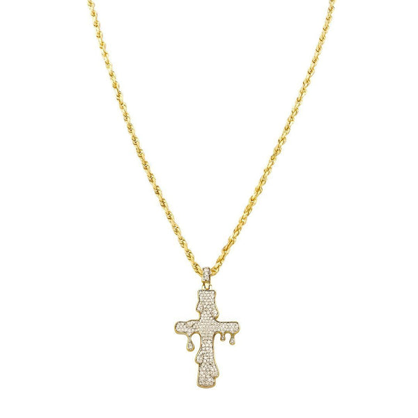 Yellow Diamond Drip Cross Pendant in 10k White Gold 0.73 Ctw