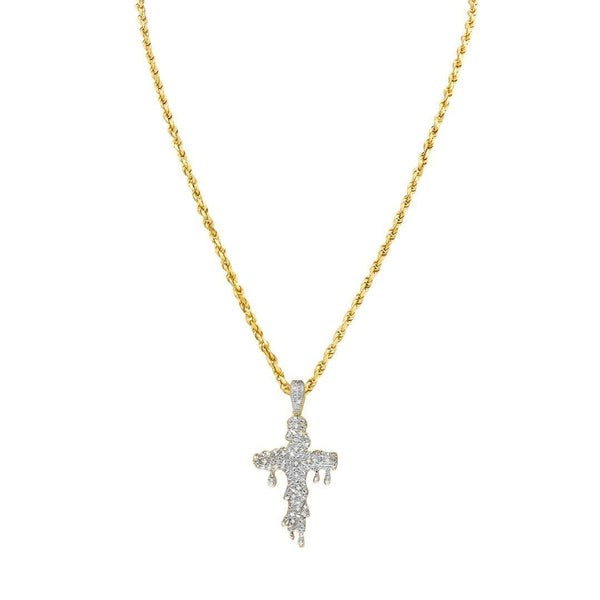 Yellow Diamond Drip Cross Pendant in 10k Yellow Gold 0.15 Ctw