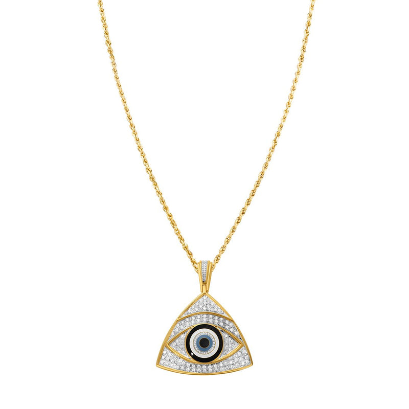 Diamond Eye Pendant in 10k Yellow Gold 0.84 Ctw