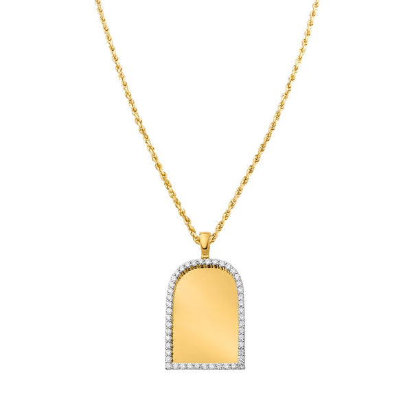 Diamond Frame Memory Pendant in 10k Yellow Gold 5.26 Ctw