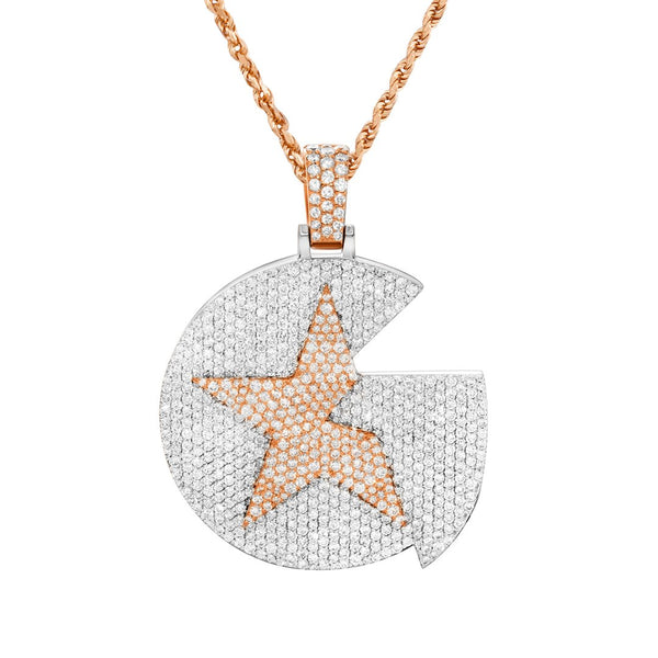 Two Tone Diamond G Star Pendant in 14k Two Tone Gold 9.52 Ctw