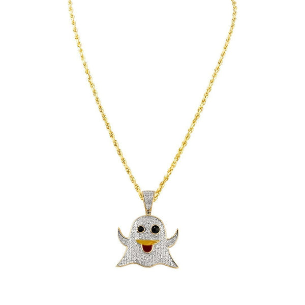 Yellow Diamond Ghost Emoji Pendant in 10k Yellow Gold 0.40 Ctw