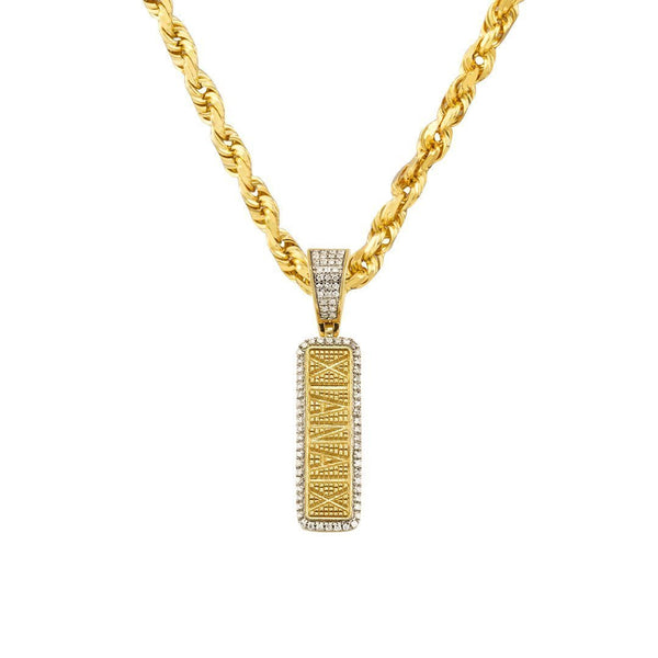Yellow Diamond Gold Bar Pill Pendant in 10k Yellow Gold 0.05 Ctw