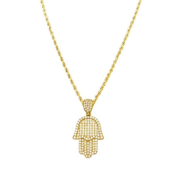 Diamond Hamsa Pendant 14k Yellow Gold 1.50 Ctw