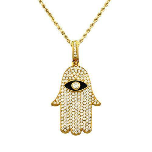 Diamond Hamsa Pendant 14k Yellow Gold 3 Ctw