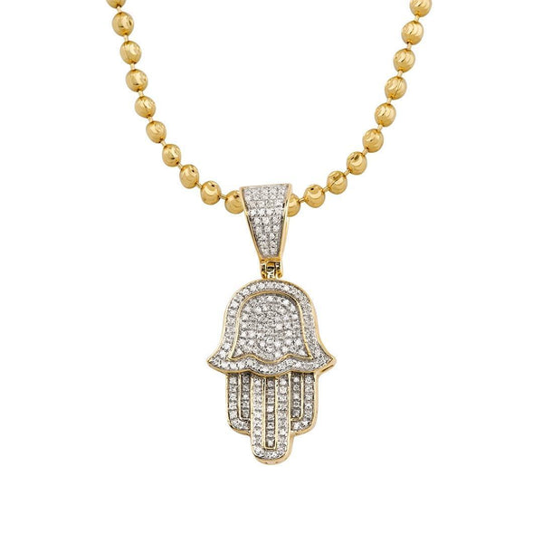 Yellow Diamond Hamsa Pendant in 10k Yellow Gold 0.30 Ctw