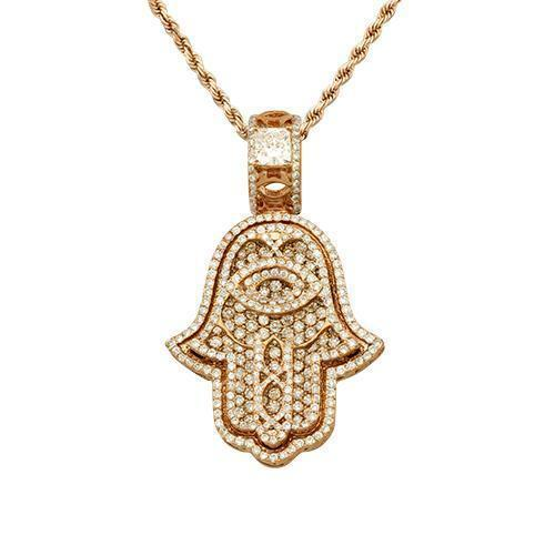Diamond Hamsa Pendant in 14k Rose Gold 3.50 Ctw