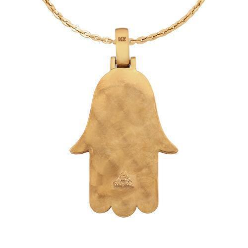 Diamond Hamsa Pendant in 14k Yellow Gold 3 Ctw