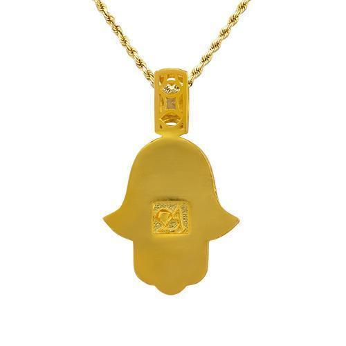 Diamond Hamsa Pendant in 14k Yellow Gold 4 Ctw