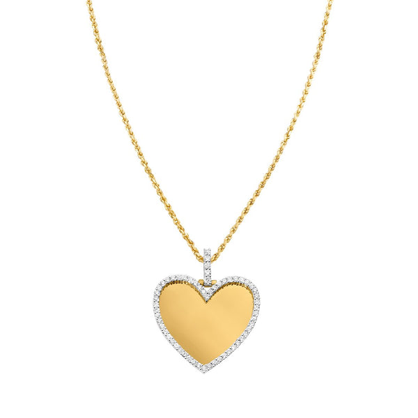 Yellow Diamond Heart Memory Pendant in 10k Yellow Gold 2.91 Ctw