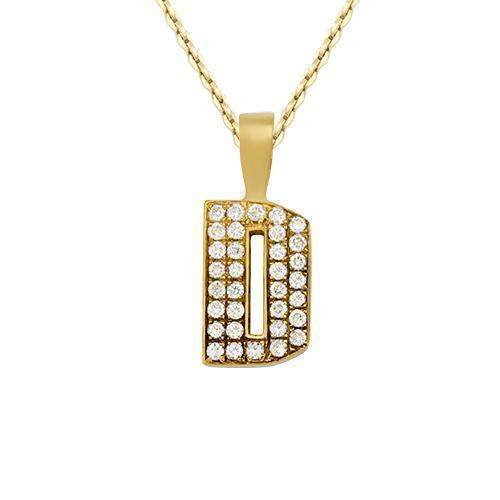 Yellow Diamond Initial Letter D Pendant in 14k Yellow Gold 0.50 Ctw