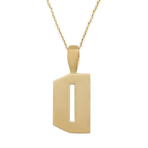 Yellow Diamond Initial Letter D Pendant in 14k Yellow Gold 1 Ctw
