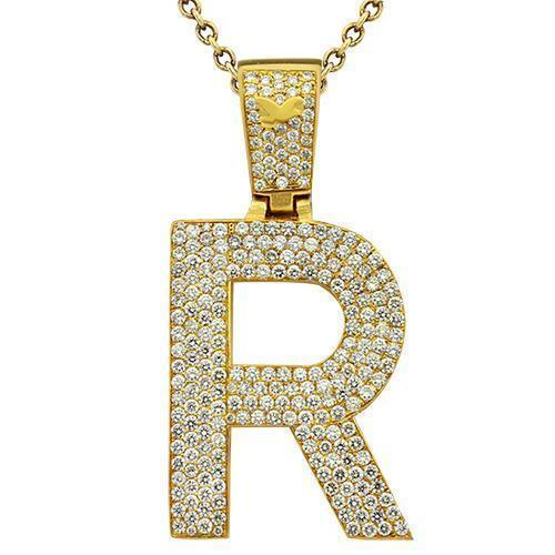 Diamond Initial Letter R Pendant in 14k Yellow Gold 9.5 Ctw