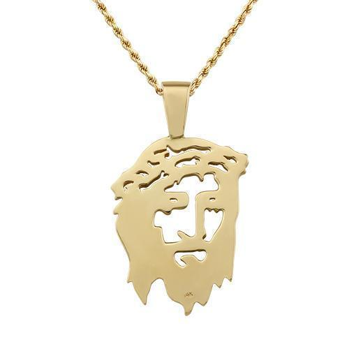 Diamond Jesus Head Pendant 14k Yellow Gold 5 Ctw