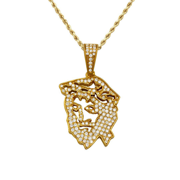 Yellow Diamond Jesus Head Pendant in 10k Yellow Gold 1.06 Ctw
