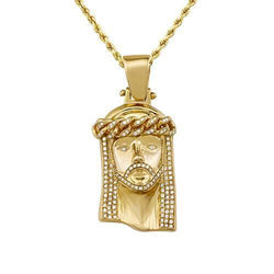 Diamond Jesus Head Pendant in 10k Yellow Gold 2.50 Ctw