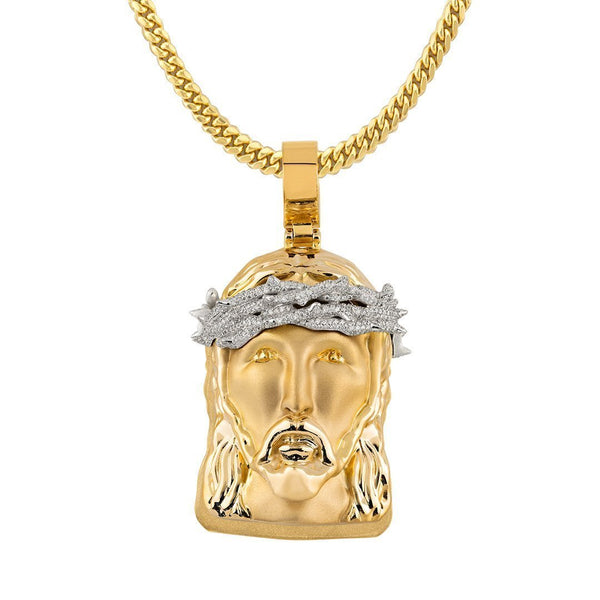 Diamond Jesus Head Pendant in 14k Two Tone Gold 2.80 Ctw