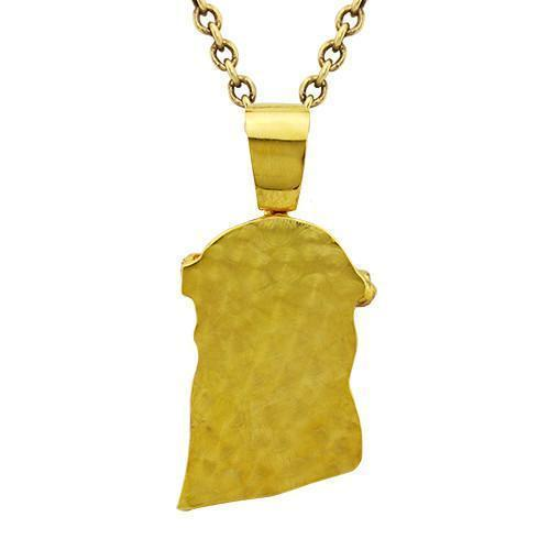 Diamond Jesus Head Pendant in 14k Yellow Gold 12.77 Ctw