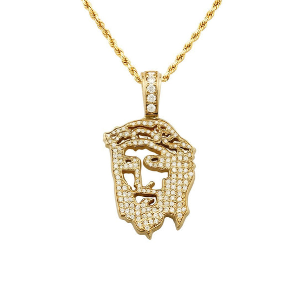 Diamond Jesus Head Pendant in 14k Yellow Gold 2.25 Ctw