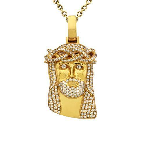 Diamond Jesus Head Pendant in 14k Yellow Gold 2.50 Ctw