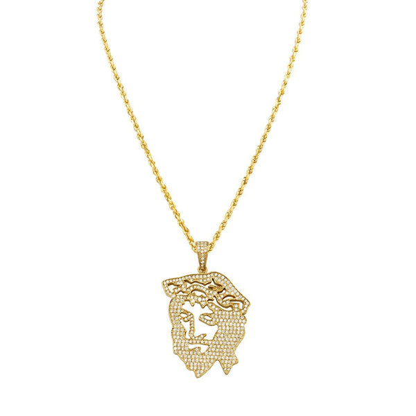 Diamond Jesus Head Pendant in 14k Yellow Gold 2.75 Ctw