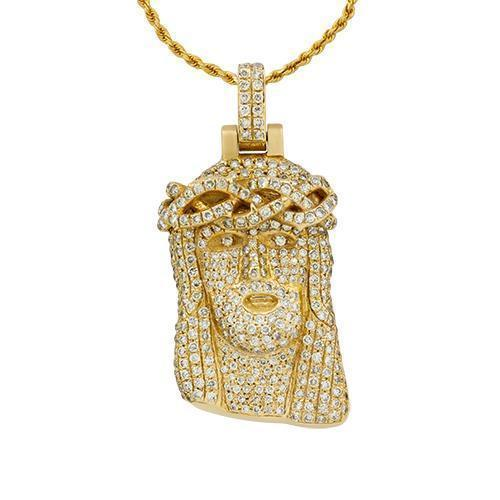 Diamond Jesus Head Pendant in 14k Yellow Gold 3.50 Ctw