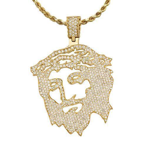 Diamond Jesus Head Pendant in 14k Yellow Gold 5 Ctw