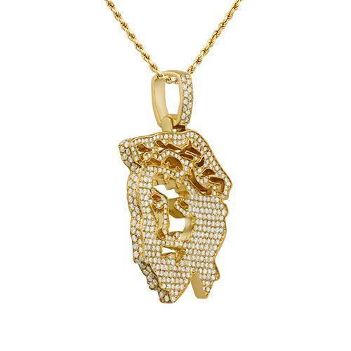 Diamond Jesus Head Pendants in 14k Yellow Gold 5.50 Ctw