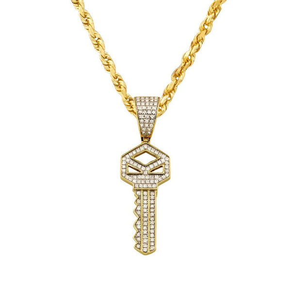 Yellow Diamond Key Pendant in 10k Yellow Gold 0.33 Ctw