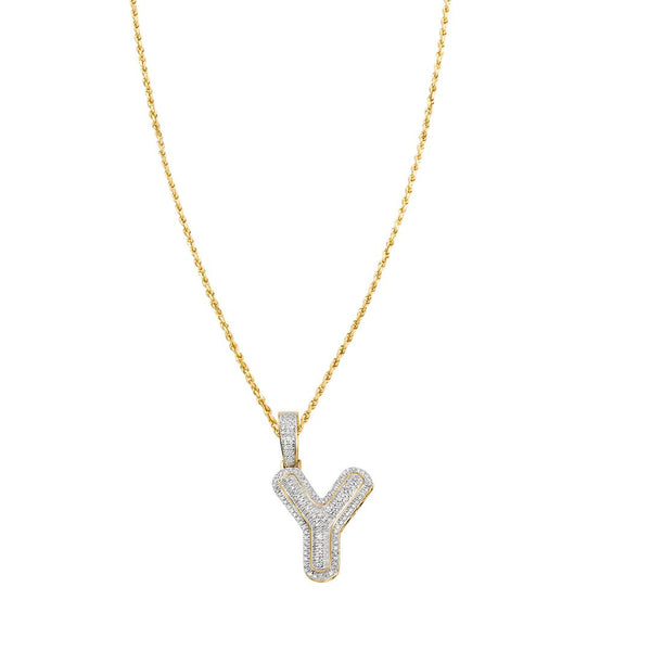 yellow diamond letter y pendant