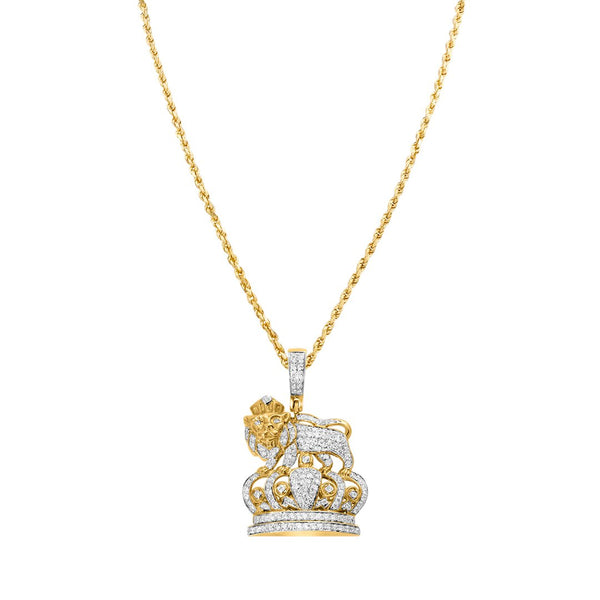 Yellow Diamond Lion Crown Pendant in 14k Yellow Gold 1.09 Ctw