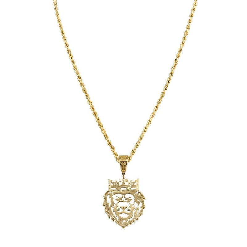 Yellow Diamond Lion Head Pendant 10k Yellow Gold 0.40 Ctw