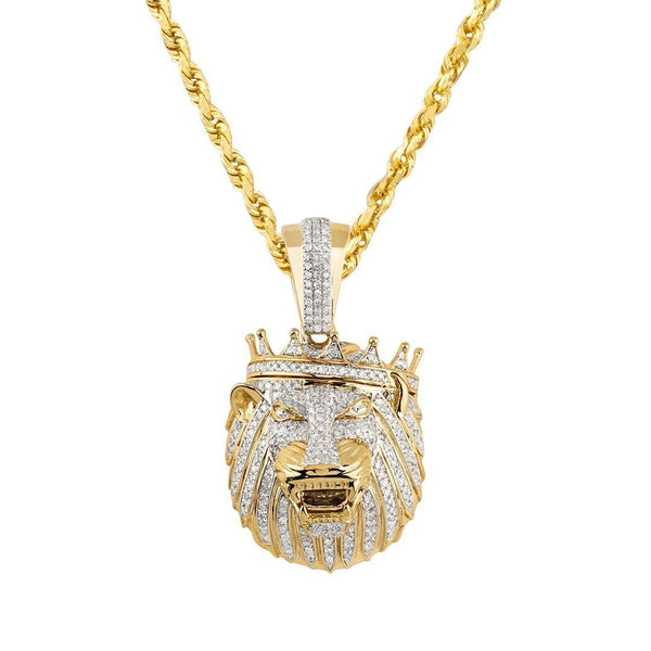Yellow Diamond Lion Head with Crown Pendant in 10k Yellow Gold 1 Ctw