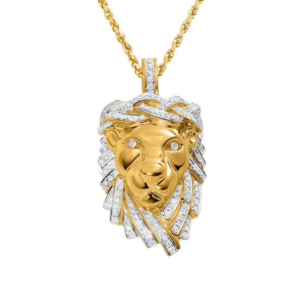 Yellow Diamond Lion Jesus Pendant in 14k Yellow Gold 1.16 Ctw