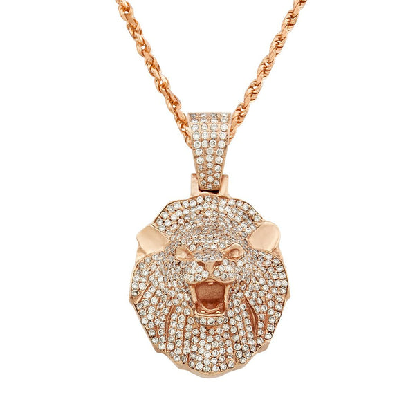 Diamond Lion Pendant 14k Rose Gold 2.68 Ctw