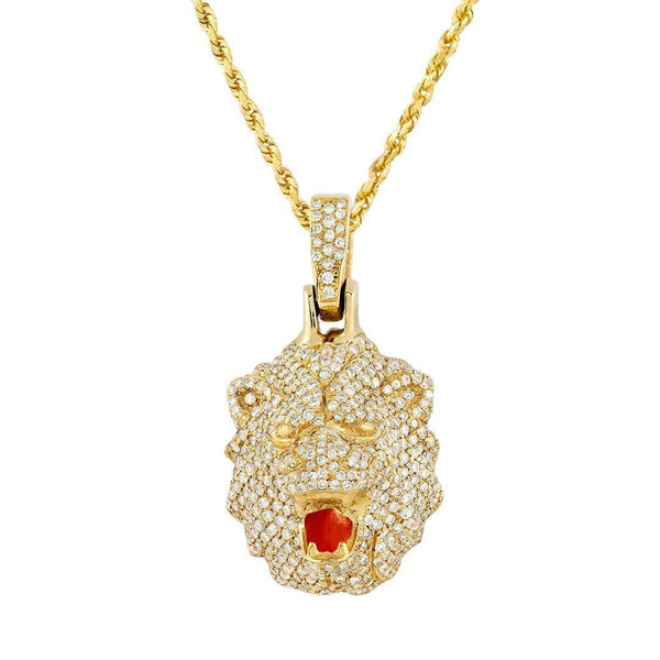 Diamond Lion Pendant in 14k Yellow Gold 1.50 Ctw