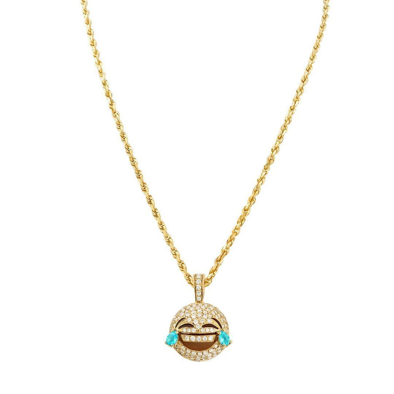 Yellow Diamond LOL Laugh Out Loud Emoji Pendant in 14k Yellow Gold 0.55 Ctw