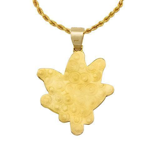 Diamond Marijuana Pendant 14k Yellow Gold 3 Ctw