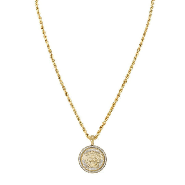 Yellow Diamond Medusa Pendant in 10k Yellow Gold 0.35 Ctw