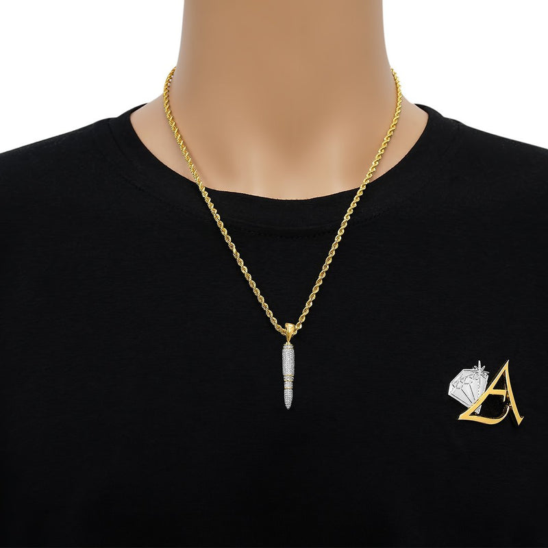 Yellow Diamond Missle Pendant in 10k Yellow Gold .71 Ctw