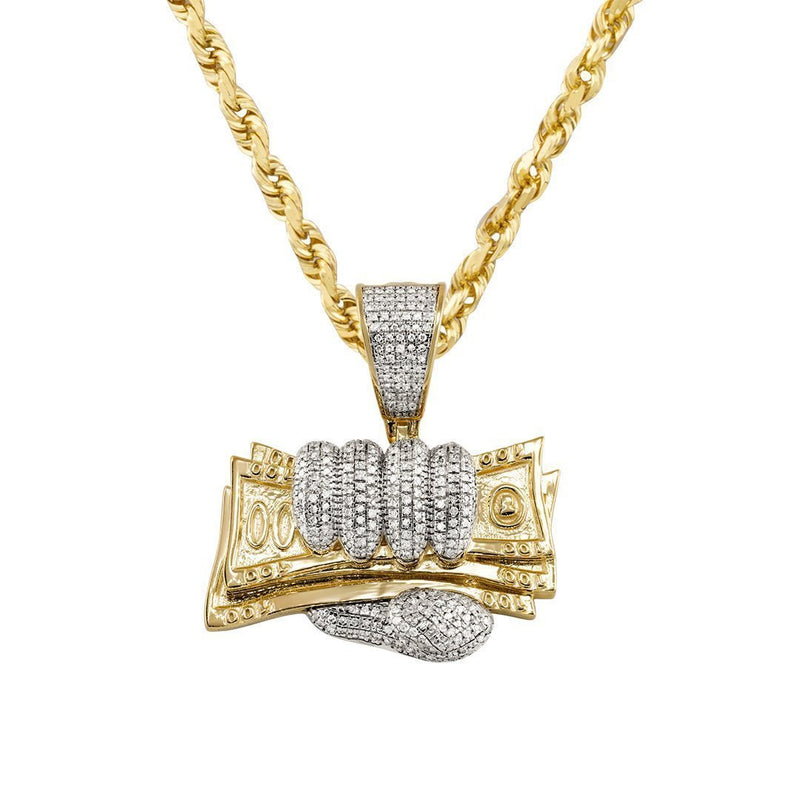 Yellow Diamond Money in Hand Pendant in 10k Yellow Gold 0.56 Ctw