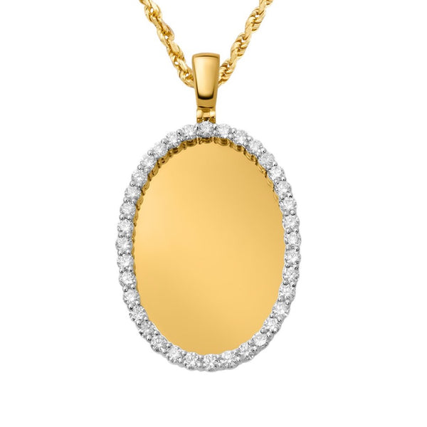 Yellow Diamond Oval Memory Pendant in 10k Yellow Gold 5.44 Ctw