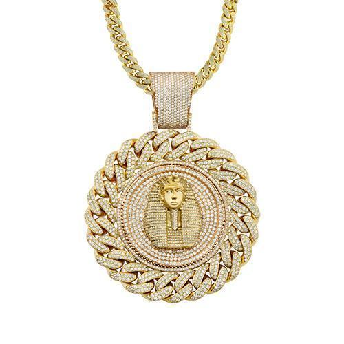 Diamond Pharaoh Cuban Link Style Pendant 14k Solid Yellow Gold 32.96 Ctw
